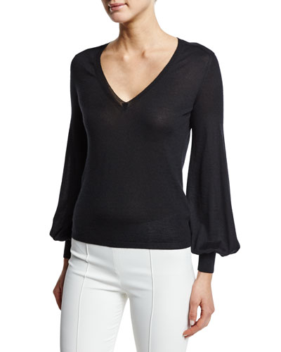 Bishop-Sleeve V-Neck Sweater, Black