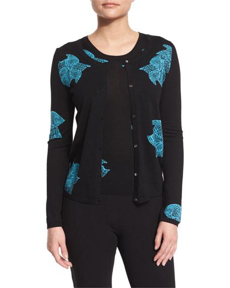 Floral-Print Wool Cardigan, Black/Turquoise