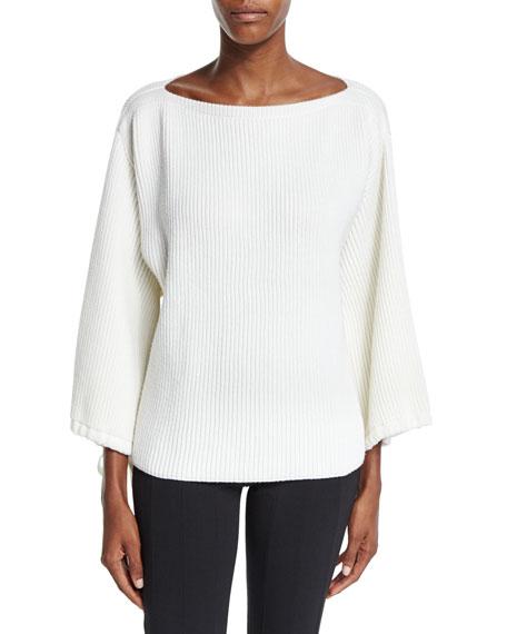 Agnona Bell-Sleeve Bateau-Neck Sweater, Ivory