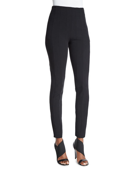 Agnona Skinny Side-Zip Pants, Black