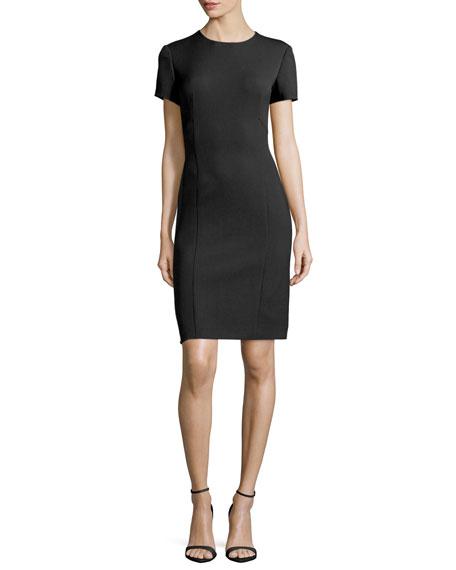 Agnona Short-Sleeve Sheath Dress, Black