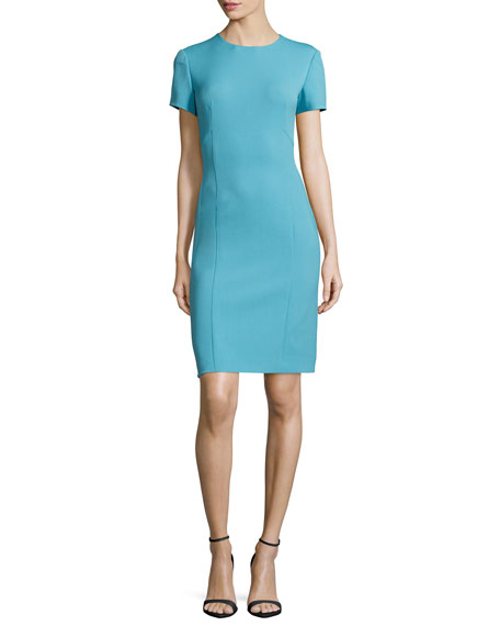 Agnona Short-Sleeve Sheath Dress, Turquoise