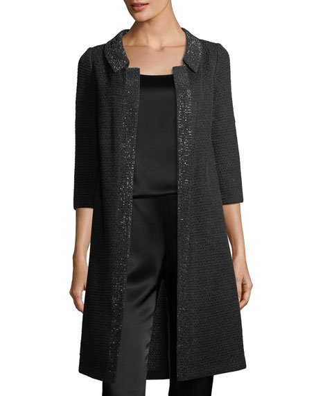 St. John Collection Allure Knit 3/4-Sleeve Topper Coat,