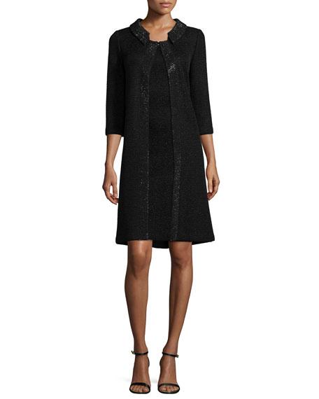 Allure Knit Scoop-Neck Cap-Sleeve Sheath Dress, Caviar