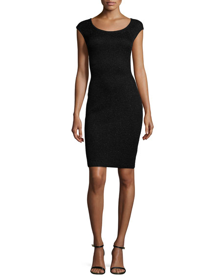 St. John Collection Allure Knit Scoop-Neck Cap-Sleeve Sheath