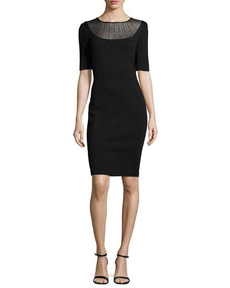 Shimmery Milano Knit Jewel-Neck Sheath Dress, Caviar