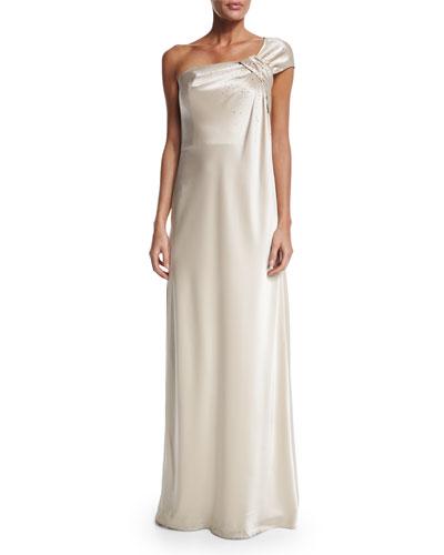 Liquid Satin One-Shoulder Gown, Champagne