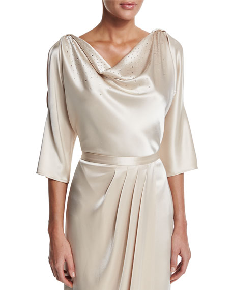 St. John Collection Liquid Satin Cowl-Neck Blouse, Champagne