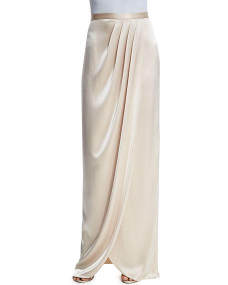 Liquid Satin Faux-Wrap Gown Skirt, Champagne