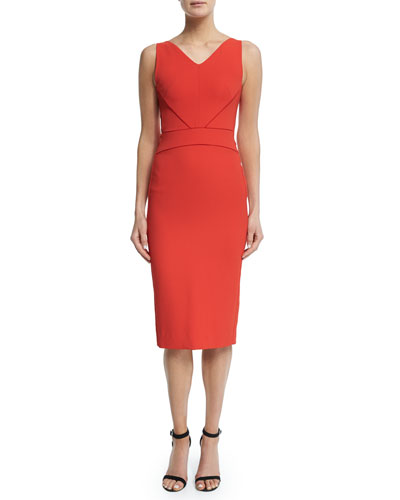Sleeveless V-Neck Sheath Dress, Red