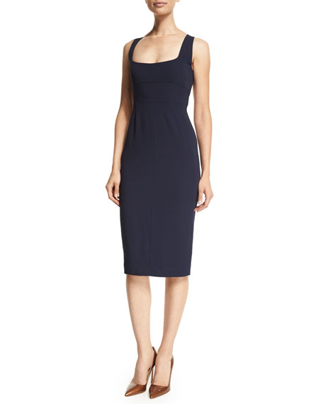 Narciso Rodriguez Square-Neck Open Back Sheath Dress, Navy