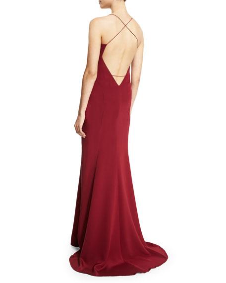 Sleeveless Silk Chemise Open-Back Gown, Crimson