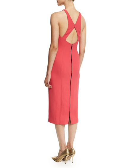 Sleeveless Crisscross Back Sheath Dress, Poppy
