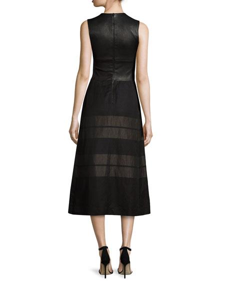 Sleeveless Contrast-Striped Midi Dress, Black/Bronze