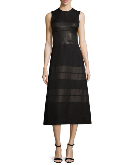 Narciso Rodriguez Sleeveless Contrast-Striped Midi Dress,