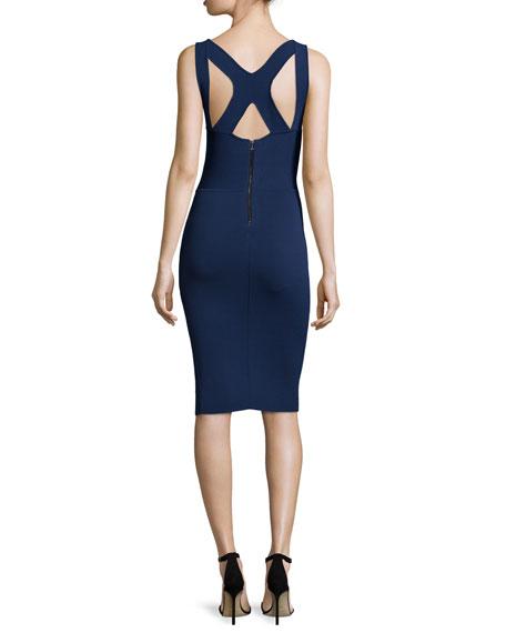 Sleeveless Harness-Back Sheath Dress, Navy