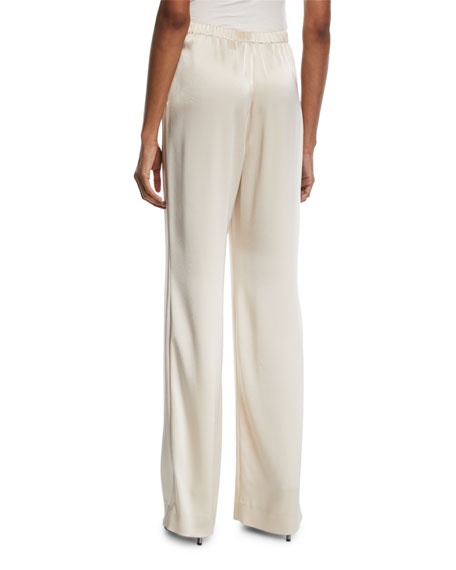 Liquid Satin Wide-Leg Pants, Champagne