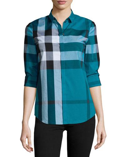 Long-Sleeve Placket-Front Check Shirt, Teal