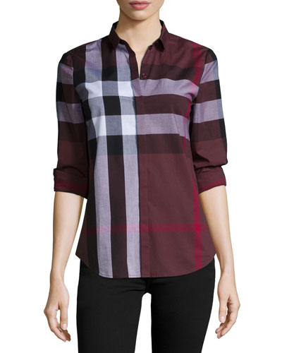 Long-Sleeve Placket-Front Check Shirt, Red