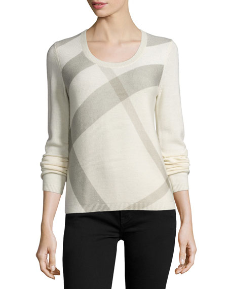 Burberry Brit Scoop-Neck Check Sweater, White