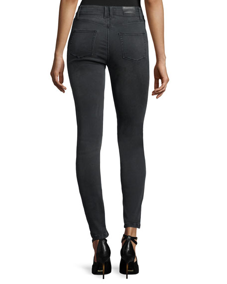 High-Rise Skinny Jeans, Gray