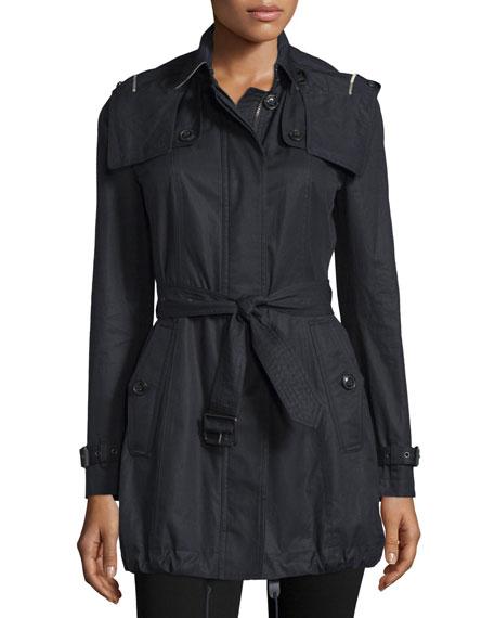 Burberry Brit Fenstone Single-Breasted Raincoat, Black
