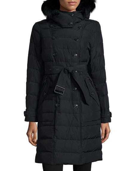 Burberry Brit Allerdale Hooded Puffer Coat W/ Removable Fur Trim