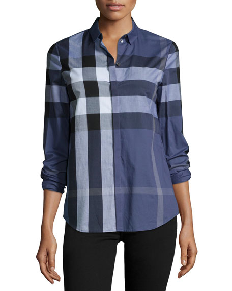 Burberry Brit Long-Sleeve Placket-Front Check Shirt, Blue