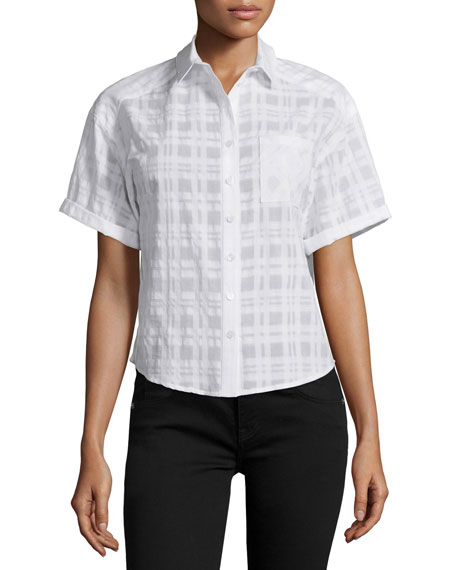 Burberry Brit Short-Sleeve Sheer Tonal Check Shirt, White