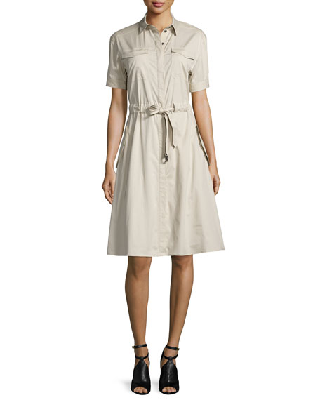 Burberry Brit Tuesday Short-Sleeve Drawstring-Waist Dress