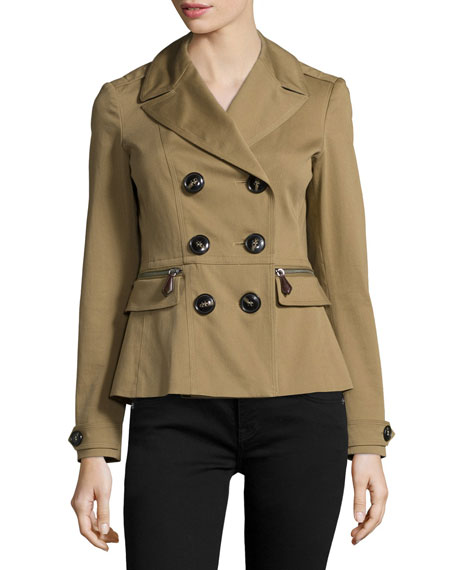 Burberry Brit Tiberton Double-Breasted Pleated-Back Short Jacket