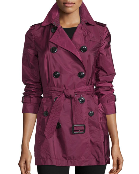 Burberry Brit Kerringdale Double-Breasted Rain Trench Coat, Berry