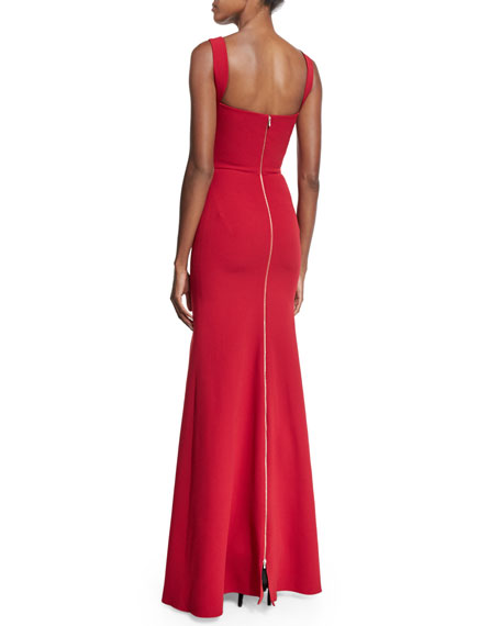 Sleeveless Sweetheart-Neck Mermaid Gown, Red