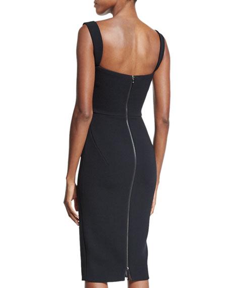 Sleeveless Sweetheart-Neck Sheath Dress, Black