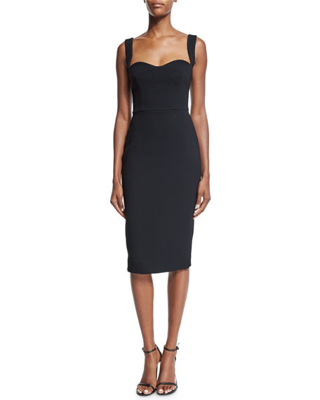 Victoria Beckham Sleeveless Sweetheart-Neck Sheath Dress, Black