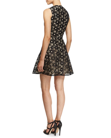 Sleeveless High-Neck Floral-Lace Dress, Black
