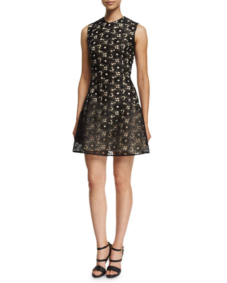 Victoria Beckham Sleeveless High-Neck Floral-Lace Dress, Black