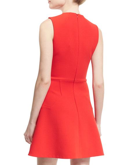 Sleeveless Hexagonal-Seam Mini Dress, Red