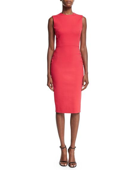 Victoria Beckham Sleeveless Jewel-Neck Sheath Dress, Red