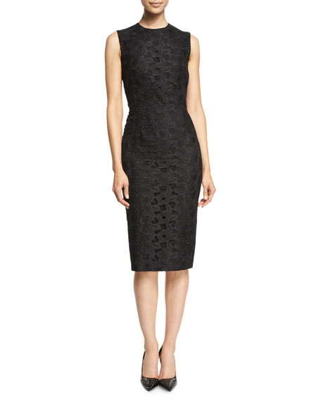 Victoria BeckhamSleeveless Lace-Front Sheath Dress, Black