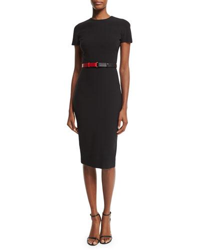 Victoria Beckham Short-Sleeve Belted T-Shirt Dress, Black