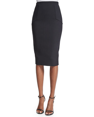 Hexagon Fitted Pencil Skirt, Black