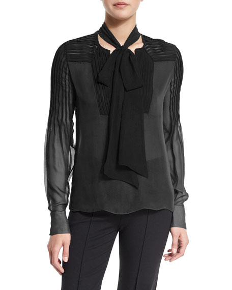 Prabal Gurung Long-Sleeve Pintuck Blouse W/Tie Neck, Black