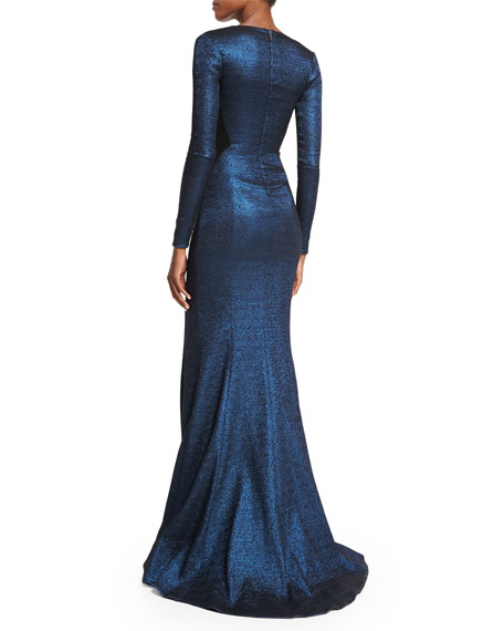 Long-Sleeve Metallic Mermaid Gown, Navy