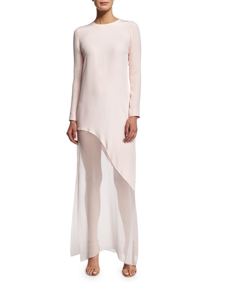 Prabal Gurung Long-Sleeve Asymmetric-Hem Gown, Shell