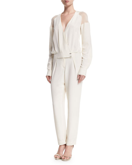 Long-Sleeve Sheer-Shoulder Jumpsuit, White