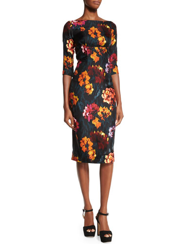 3/4-Sleeve Floral-Print Sheath Dress, Black/Multi Colors