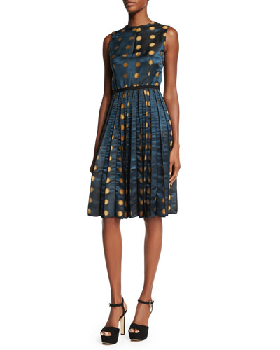 Sleeveless Jewel-Neck Dot-Print Dress, Teal