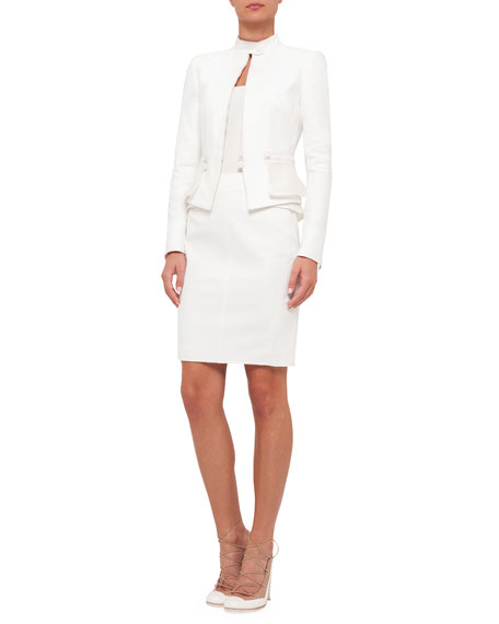 Akris punto Zip-Front Mesh-Peplum Jacket, Cream