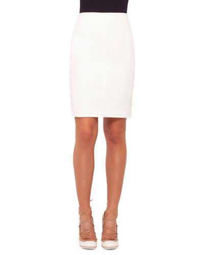 Mid-Rise Back-Zip Pencil Skirt, Cream